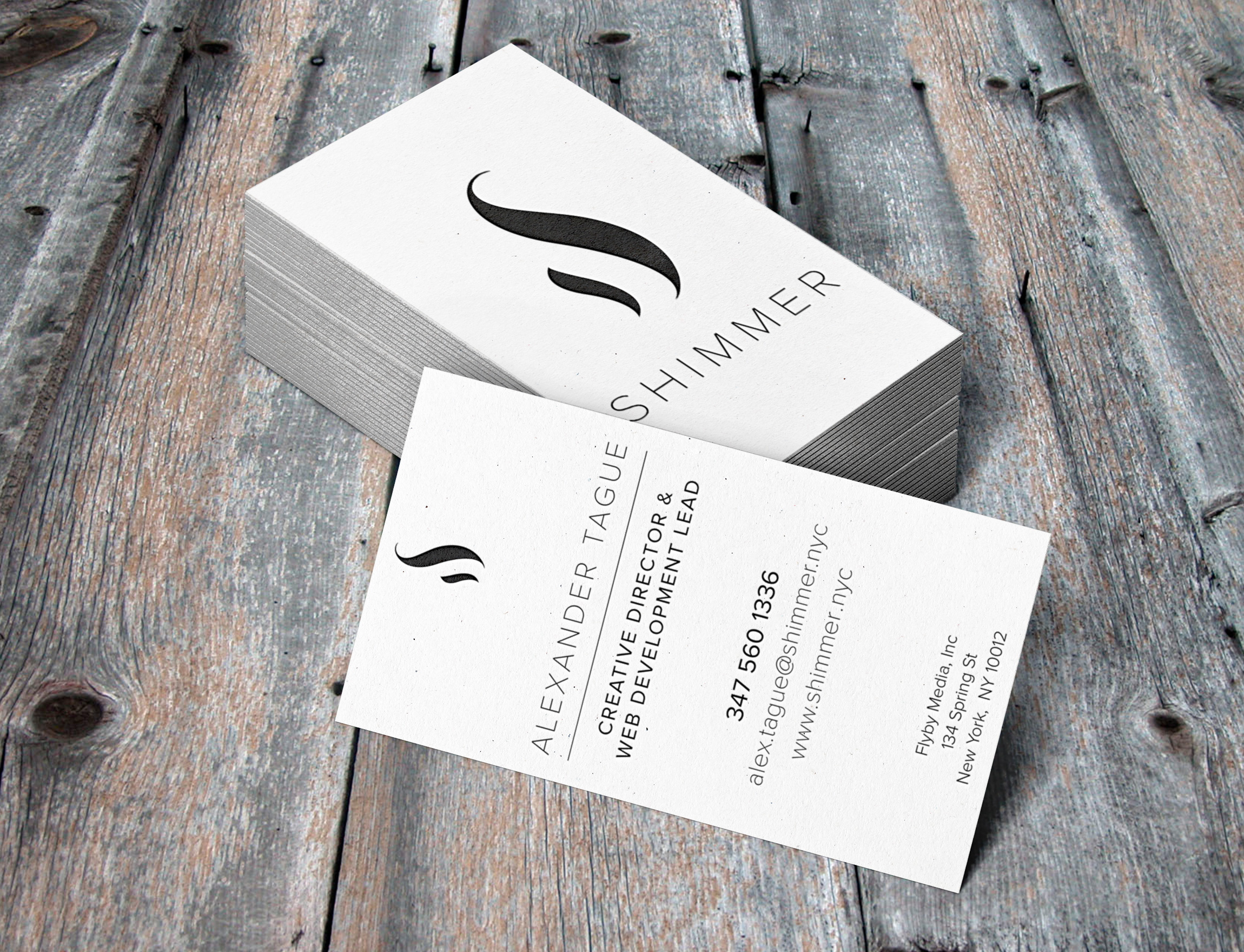 shimmer letterpress business cards